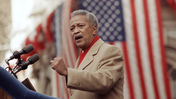 David Dinkins delivers his first speech as mayor of New York, in 1990. Dinkins, New York City's first African-American mayor, died Monday at 93.