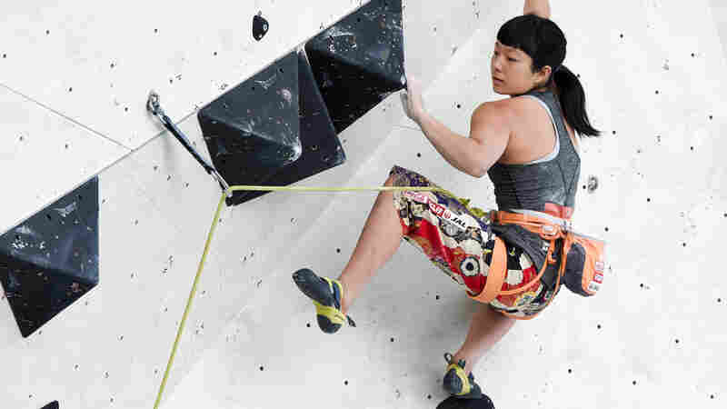 Ashima Shiraishi competes during the IFSC Climbing Wold Championships in Innsbruck, Austria, on Sept. 6, 2018.