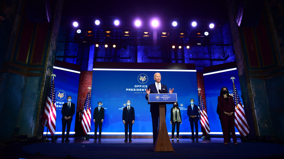 President-elect Joe Biden introduces key foreign policy and national security nominees and appointments Tuesday in Wilmington, Del. (Mark Makela/Getty Images)