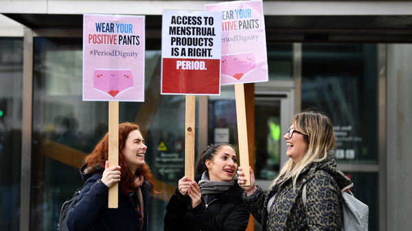 Activists rally outside the Scottish Parliament in Edinburgh in February in support of legislation for free period products. Scotland will make these products free to all who need them after lawmakers unanimously passed a bill that will require tampons and pads to be available in public places.