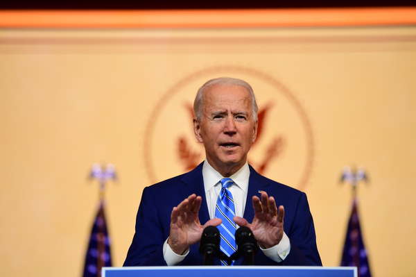 President-elect Joe Biden delivers a Thanksgiving address Wednesday at the Queen Theatre in Wilmington, Del.