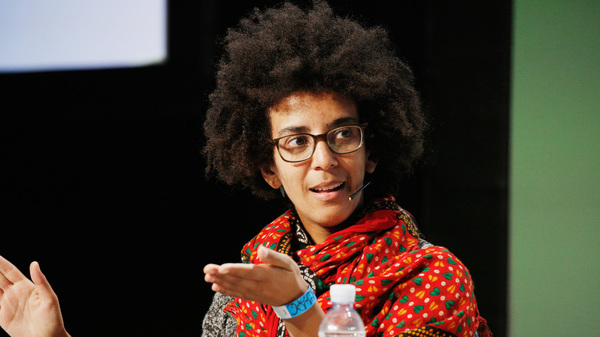 Former Google AI Research Scientist Timnit Gebru speaks here in September 2018. Gebru says she was abruptly fired from the tech giant after a dispute involving a research paper.