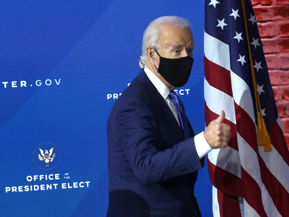 President-elect Joe Biden gives a thumbs-up during an event this week in Wilmington, Del. (Alex Wong/Getty Images)