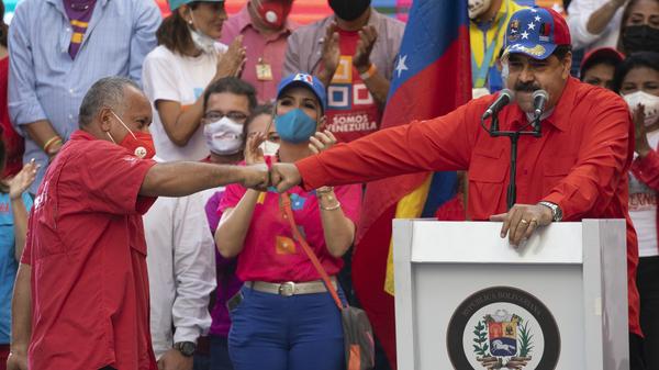 Diosdado Cabello (left), a candidate in Venezuela