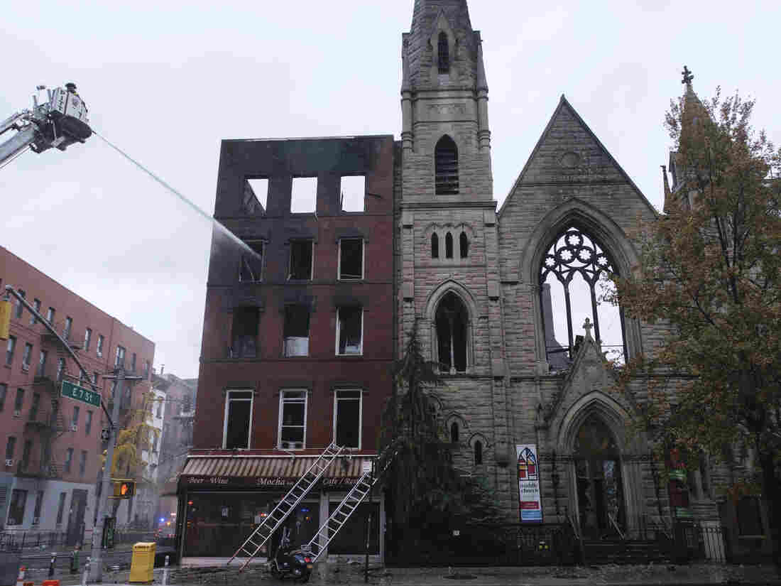 Fire guts historic N.Y. church home to New York's Liberty Bell