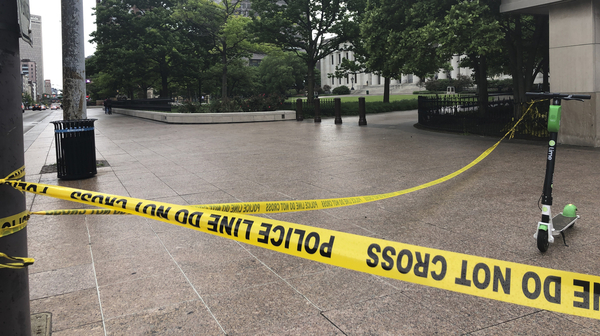 Police tape marks the corner of the Ohio Statehouse in Columbus last May after protests over the death of George Floyd. Columbus Police are investigating the shooting death of a Black man last week by a Franklin County Sheriff