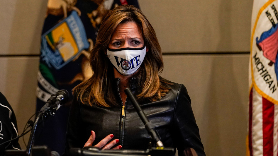 Michigan Secretary of State Jocelyn Benson says protesters were trying to intimidate her by visiting her home Saturday night. She's seen here discussing the elections during a news conference Nov. 3. (Kent Nishimura/Los Angeles Times via Getty Images)