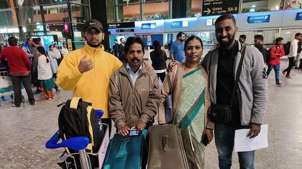 Girish Venkatesh with his family before he left India to study in Arizona. He is among the roughly 1 million international students at U.S. colleges and universities.