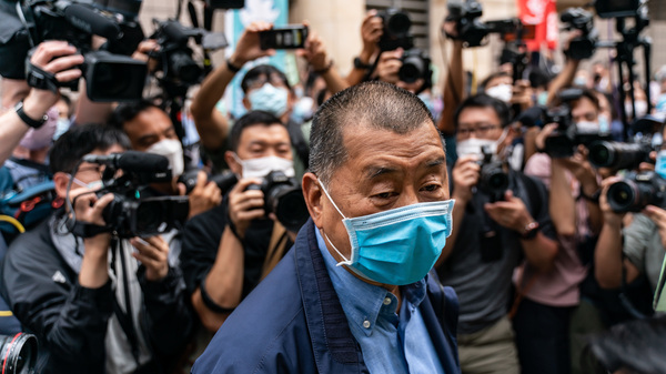 Hong Kong media tycoon Jimmy Lai is pictured as he arrived at a magistrate court this spring. Lai was arrested this month for violating a new national security law.