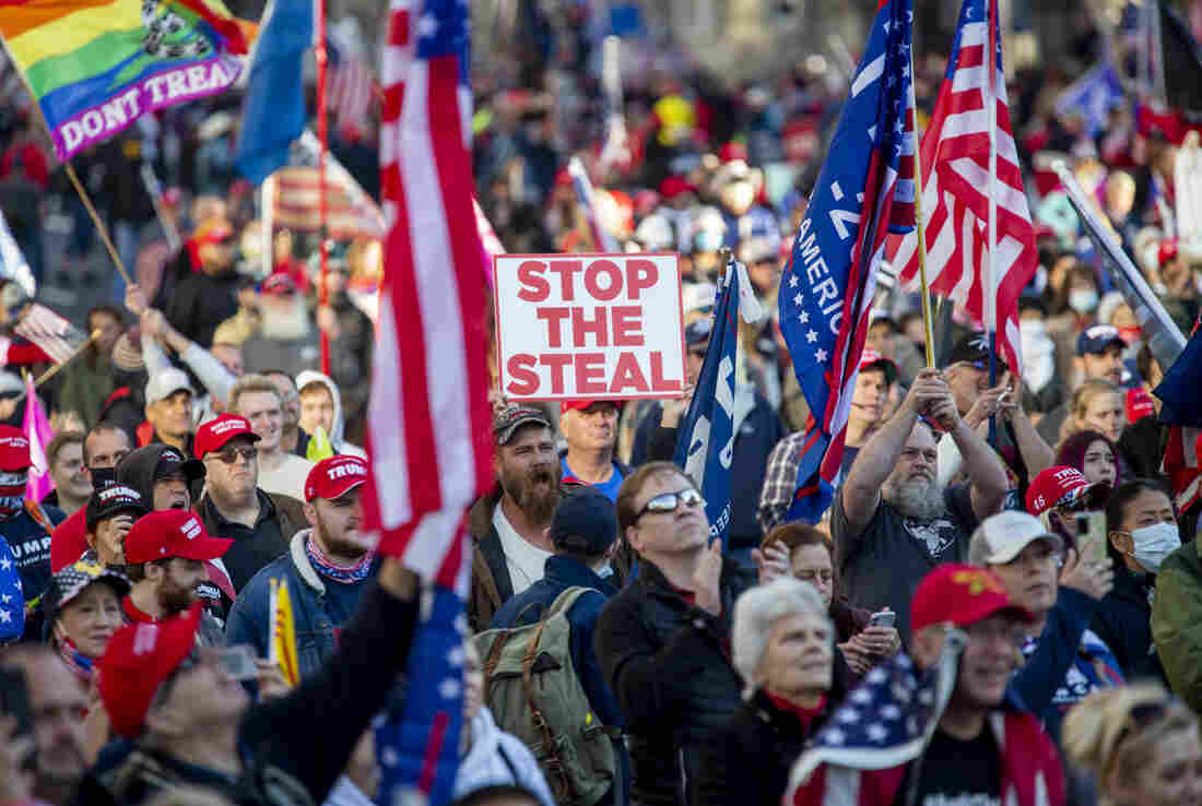Dec 12, 2020 MAGA rally and march in Washington DC. Crowds at Freedom Plaza.