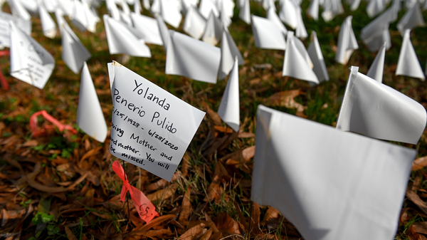 White flags planted by volunteers visualize lives lost in the U.S. to COVID-19 as part of an installation by artist Suzanne Firstenberg in D.C. The death toll has now reached 300,000.