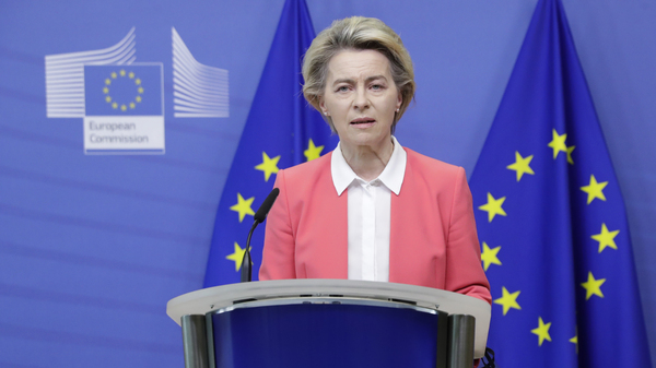 European Commission President Ursula von der Leyen delivers a statement at EU headquarters in Brussels on Sunday. Britain and the European Union say talks will continue on a free trade agreement — a deal that, if sealed, would avert New Year