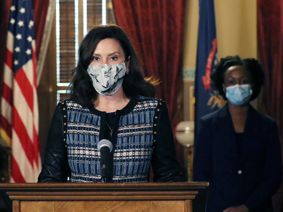 """Michigan Gov. Gretchen Whitmer, pictured on Nov. 5, says her state's electors will cast their votes within a closed capitol building, citing a """"security issue."""" (Michigan Office of the Governor via AP)"""