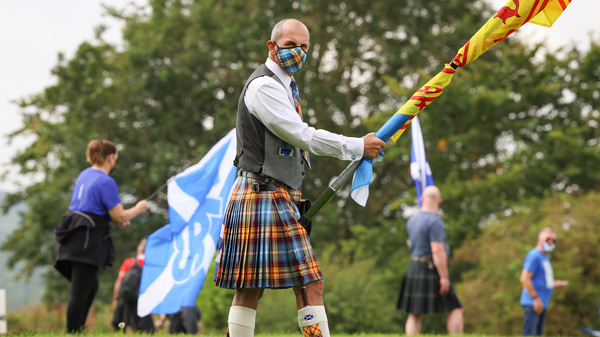 Supporters of Scottish independence gather at the site of the battle of Bannockburn in August in Bannockburn, Scotland. The site is where the army of the King of Scots Robert the Bruce defeated the army of England