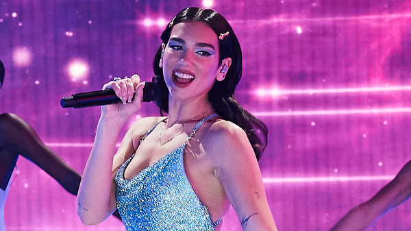 Dua Lipa performs onstage for the 2020 American Music Awards. Her album, Future Nostalgia, ranks second on Ken Tucker