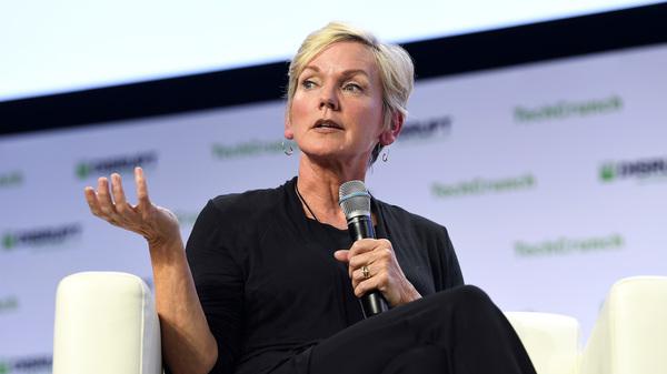 Former Michigan Gov. Jennifer Granholm speaks during a TechCrunch Disrupt conference in San Francisco in 2019.