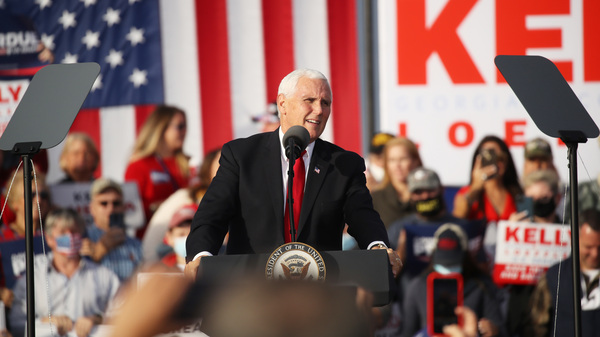Vice President Pence attends a rally this month in support of GOP Sens. David Perdue and Kelly Loeffler in Savannah, Ga.