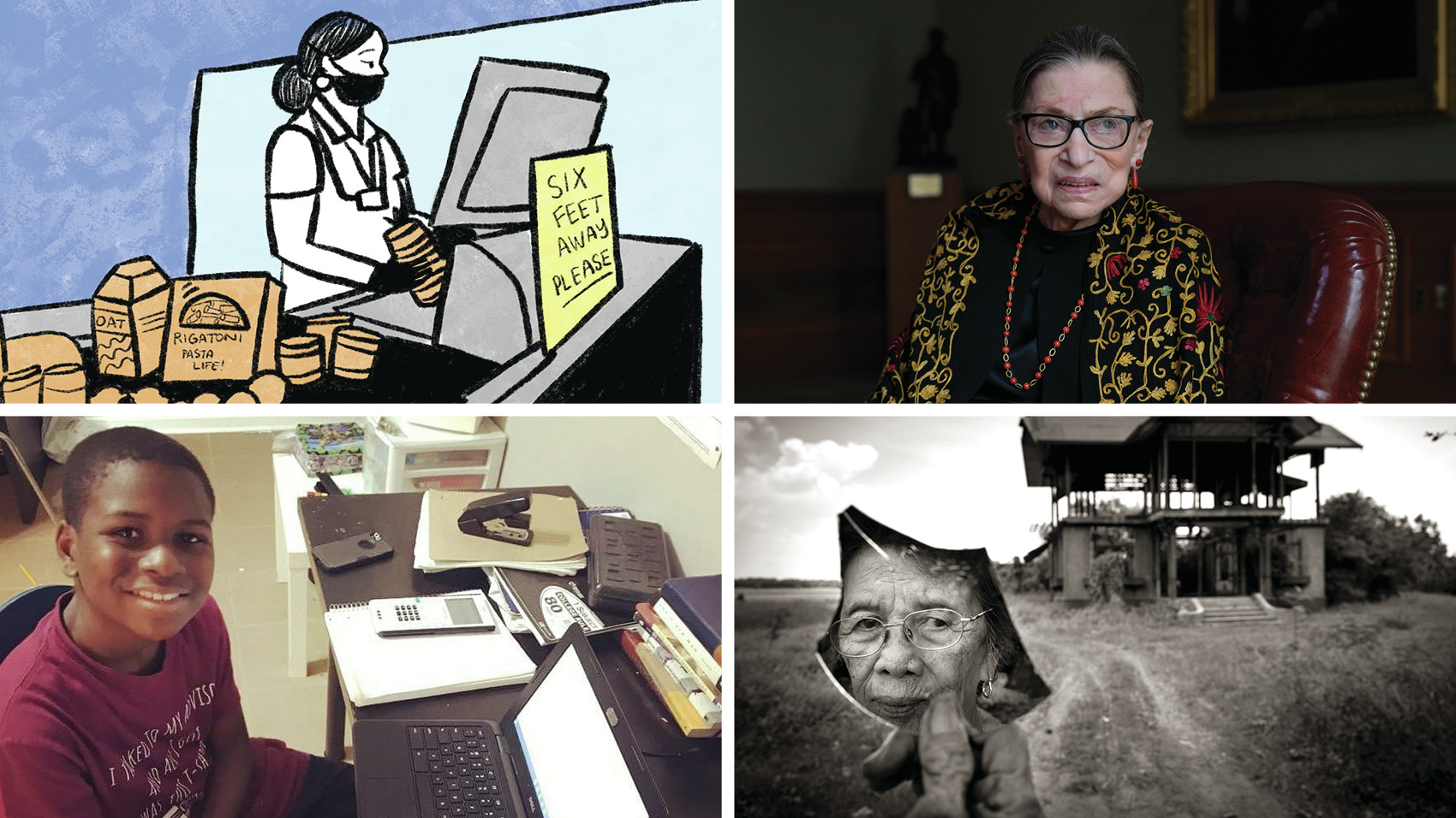 Clockwise from top left: A scene from a comic about grocery store workers during the pandemic; a 2019 portrait of Supreme Court Justice Ruth Bader Ginsburg; Pilar Quilantang Galang was raped by members of the Japanese Imperial Army in 1944; Caleb Anderson, 12, attends virtual calculus class at Chattahoochee Technical College in Marietta, Ga., where he is a sophomore.