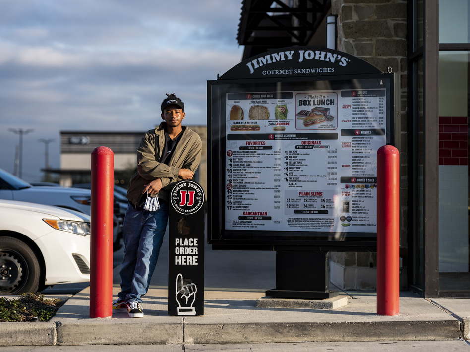 Instead of going to college this fall, Brian Williams got a job at a Jimmy John's near his home in Stafford, Texas. He says paying for college was always going to be hard, but it was even harder to justify the expense during a pandemic. (Scott Dalton for NPR)