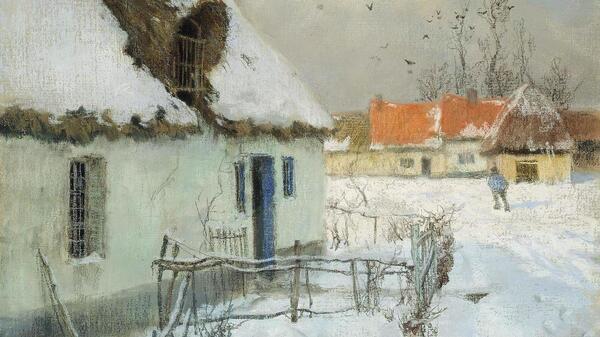Frits Thaulow,《雪中的小屋》,1891年