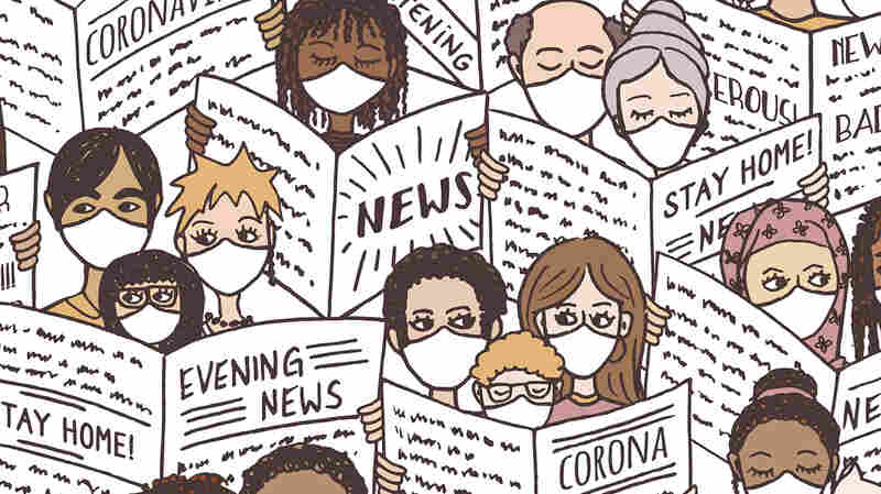 Seamless pattern with diverse people, adults and children, reading newspapers about the coronavirus pandemic, wearing face masks