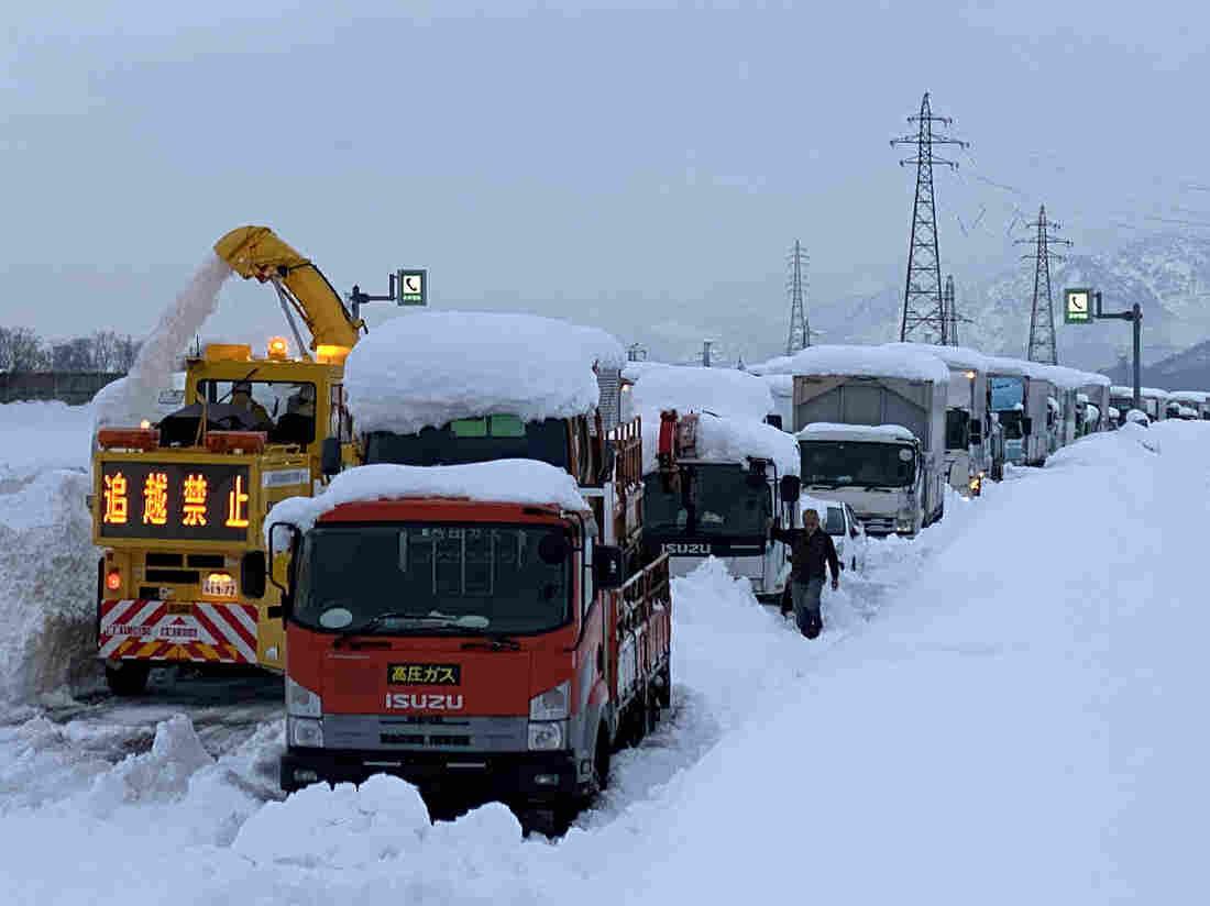 Japanese snowstorm brings traffic to a halt on expressway in Niigata prefecture