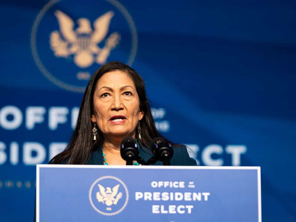 Rep. Deb Haaland, D-N.M., delivers remarks after being introduced as President-elect Joe Biden's nominee to be the next secretary of interior. (Alex Edelman/AFP via Getty Images)