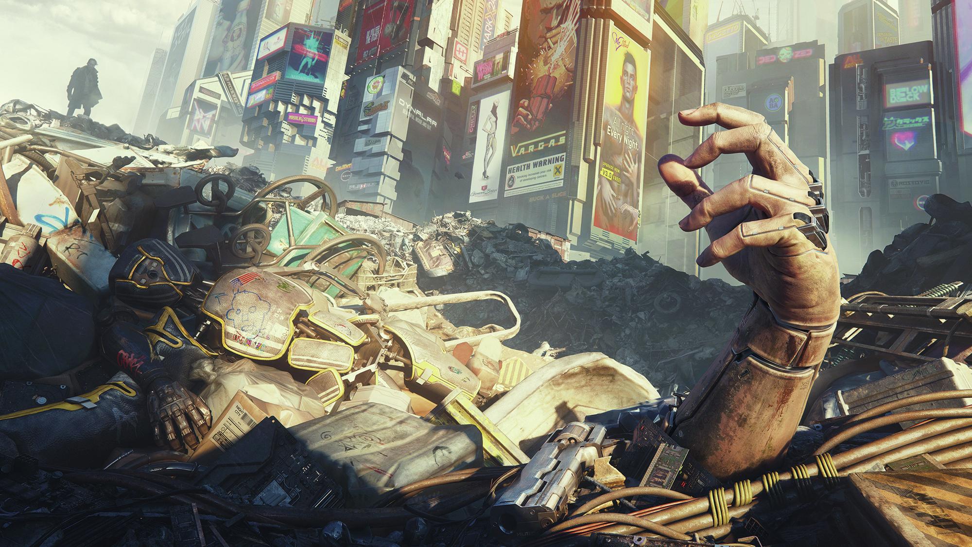 A cyborg hand sticking out of a trash heap.