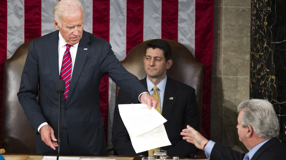 Then-Vice President Joe Biden presides over a joint session of Congress in January 2017 to formally name Donald Trump as president-elect. (Cliff Owen/AP)