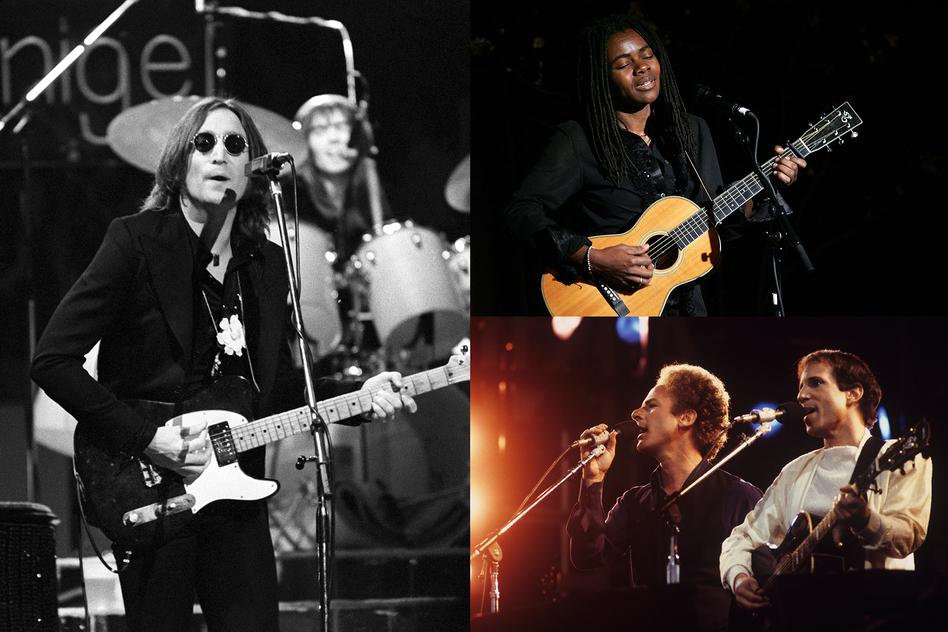 John Lennon (by Steve Morley), Tracy Chapman (by Bryan Bedder), Simon & Garfunkel (by David Redfern)