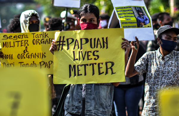 Alliance of Papuan Students are seen protesting in Surabaya, Indonesia, on June 16, 2020.