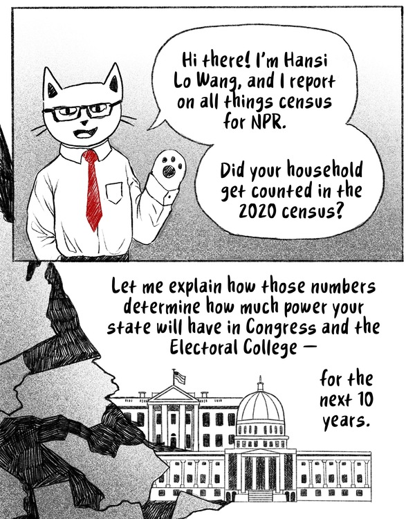 Hi! I'm NPR correspondent Hansi Lo Wang. Did you know the census helps determine how much power your state will have in Congress and the Electoral College for the next 10 years? [Image description- Hansi, depicted as a cat with glasses, waves hello.]