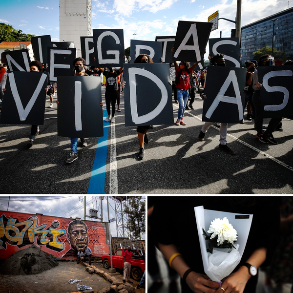 """The killing of George Floyd in Minnesota resonated and led to huge demonstrations for racial justice around the world. Top: Protesters hold Portuguese signs reading """"Black Lives Matter"""" in Rio de Janeiro, Brazil. Left: Residents of Nairobi's Kibera slum work in front of a George Floyd mural in Kenya. Right: A South Korean activist holds a flower during a rally to mourn Floyd's death."""