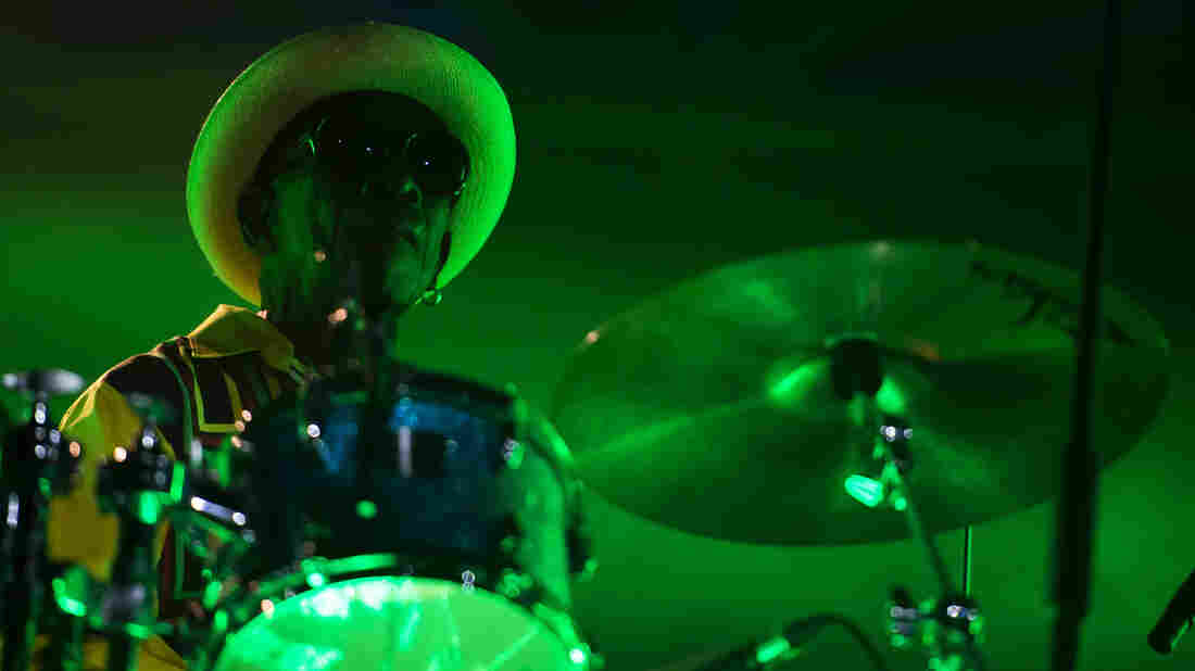Nigerian drummer Tony Allen performs live with DJ and producer Jeff Mills.