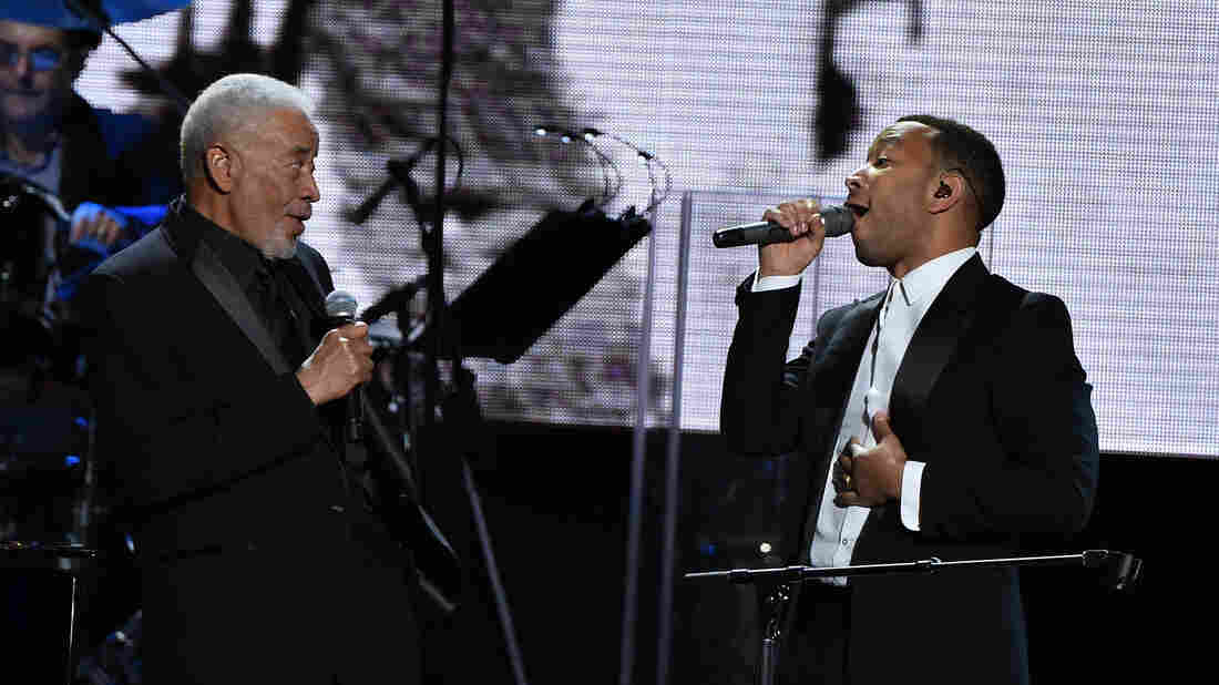 Bill Withers (left) and John Legend perform onstage during the 30th Annual Rock And Roll Hall Of Fame Induction Ceremony at Public Hall on April 18, 2015 in Cleveland.