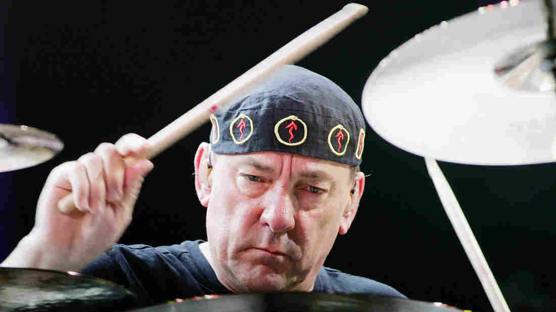 Rush drummer Neil Peart performs at the Mandalay Bay Events Center in 2008 in Las Vegas.