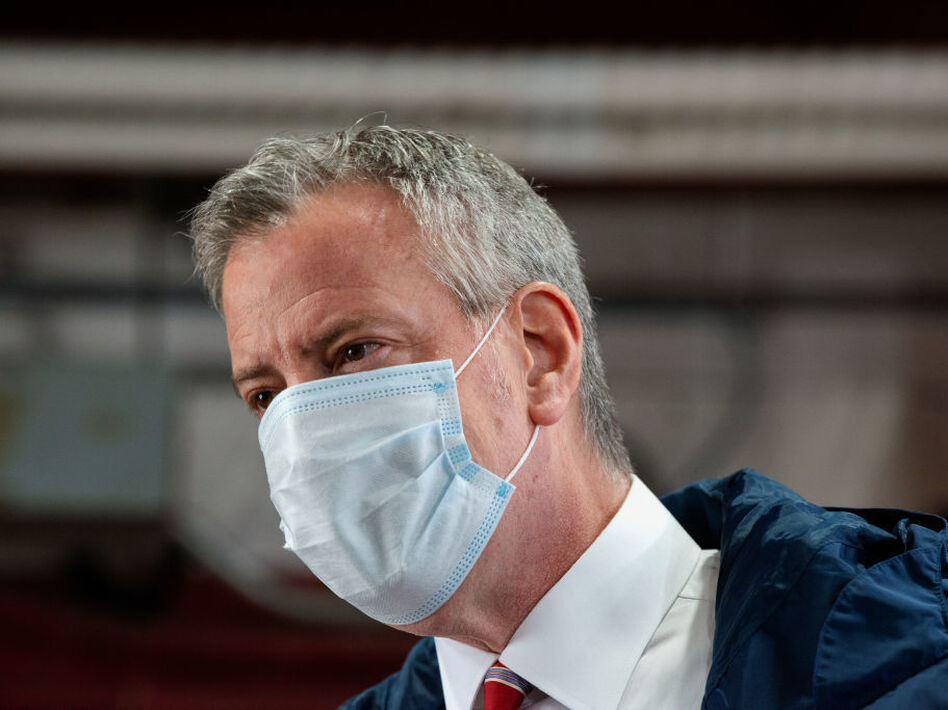 In New York City, homicides were up nearly 40% over the previous year by Dec. 20, 2020. Mayor Bill de Blasio said the numbers should worry New Yorkers. (Bryan Thomas/Getty Images)