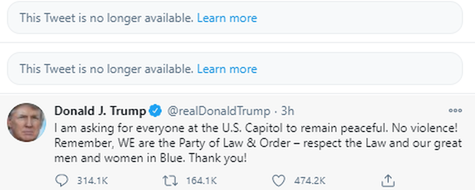 Twitter on Wednesday removed three of President Trump's tweets over violations of its policies and warned that Trump's account could be kicked off the platform if he continues to break the rules. (Twitter.com)