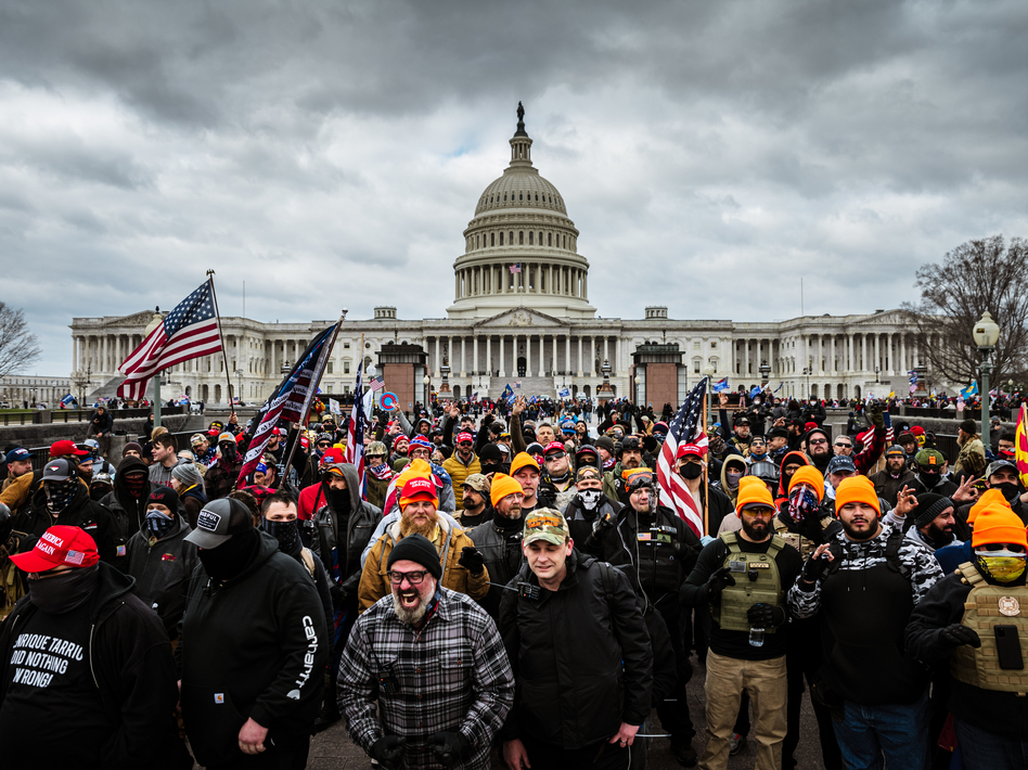 Pro-Trump protesters gathered in front of the U.S. Capitol on Wednesday. On social media sites both fringe and mainstream, right-wing extremists made plans for violence on Jan. 6. (Jon Cherry/Getty Images)
