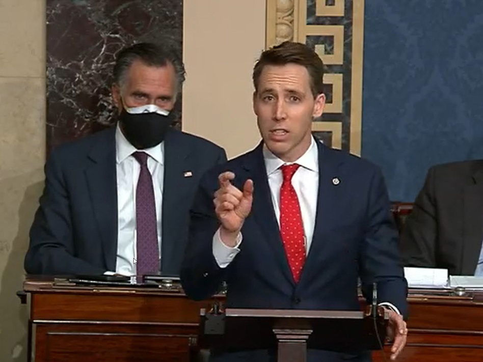 In this screenshot taken from a congress.gov webcast, Missouri Republican Sen. Josh Hawley speaks during a Senate debate session to ratify the 2020 presidential election on Wednesday in Washington, D.C. (congress.gov via/Getty Images)