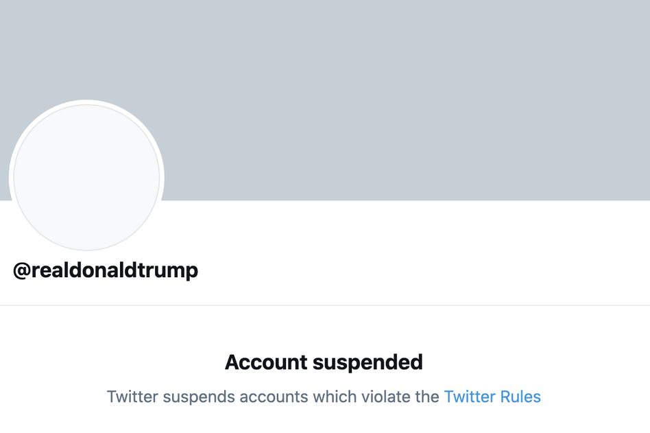 President Trump's Twitter account, @realDonaldTrump, has been permanently suspended, the company announced. (Twitter/Screenshot by NPR)