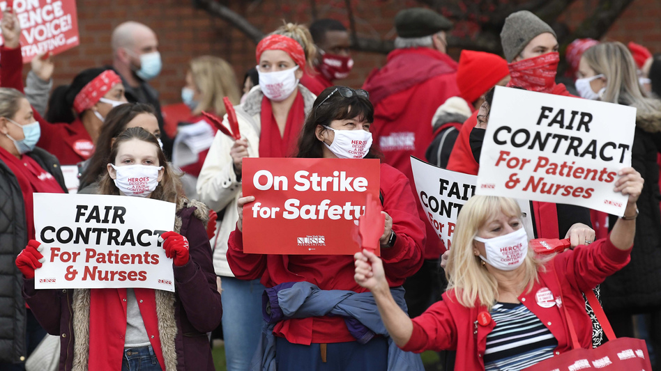 Nurses at Albany Medical Center picketed on Dec.1, asking for more personal protective equipment. They say they're having to reuse N95 masks up to 20 times. (Hans Pennink)
