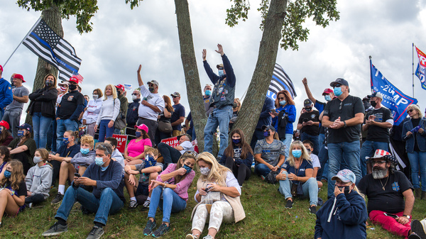 Trump supporters attend a rally hosted by Long Island and New York City police unions in support of the police on Oct. 4, 2020, in Suffolk County, N.Y.