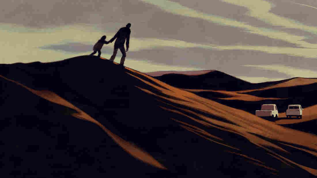 A man and his daughter walk across a desert.