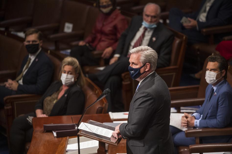 House Minority Leader Kevin McCarthy, R-Calif., speaks in the House Chamber. (Amanda Voisard/AP)