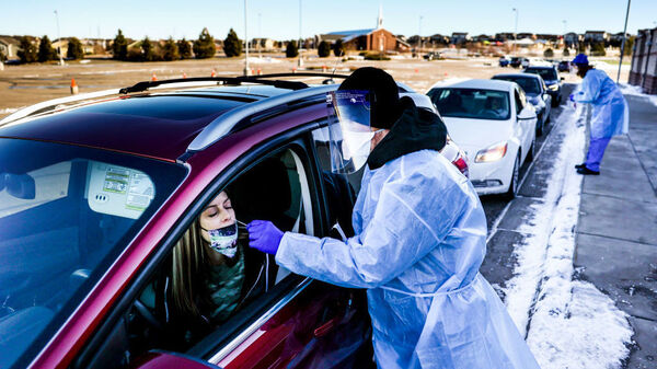 A coronavirus variant that is thought to be more contagious was detected in the United States in Elbert County, Colo., not far from this testing site in Parker, Colo. The variant has been detected in several U.S. states.