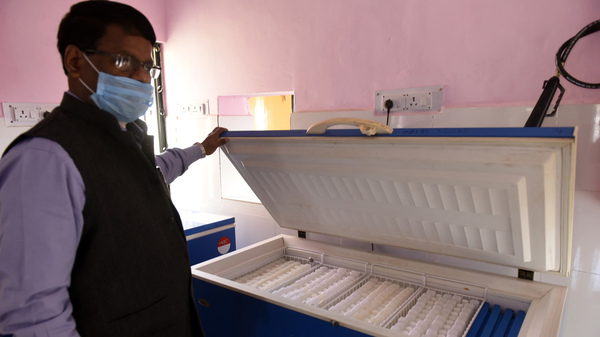 A box for COVID-19 vaccine storage, at Aishbagh on Tuesday, in Lucknow, India. India, a country of 1.4 billion people, is preparing to launch the what will likely be the world