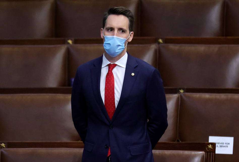 Sen. Josh Hawley, R-Mo., seen here during a reconvening of a joint session of Congress on Jan. 6, has penned an op-ed defending his decision to object to the certification of electoral votes. (Win McNamee/Getty Images)