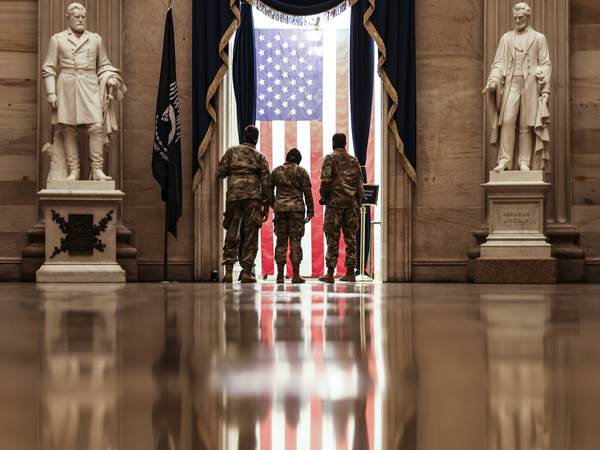 Members of the U.S. National Guard from Delaware in the Capitol Rotunda on Wednesday.