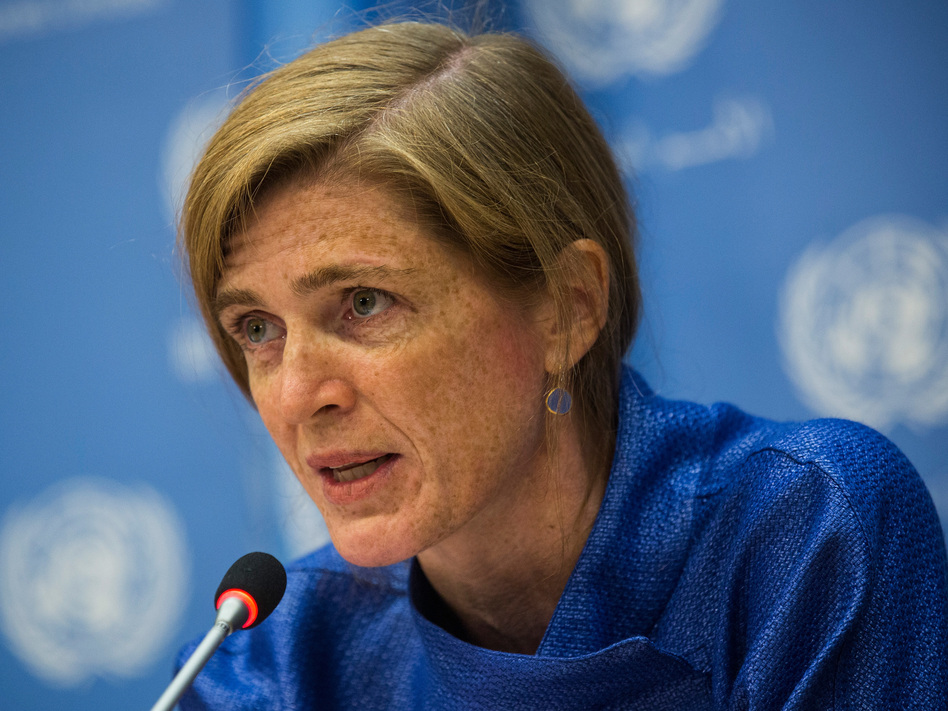 Samantha Power, who served as the U.S. ambassador to the United Nations during the Obama administration, has been nominated by President-elect Joe Biden to run USAID. Power is seen here in 2014. (Andrew Burton/Getty Images)